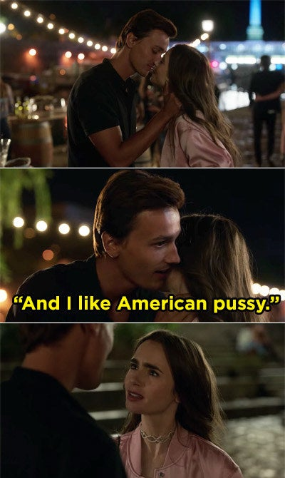 """Emily kissing a guy and then he whispers to her, """"I like American pussy"""""""