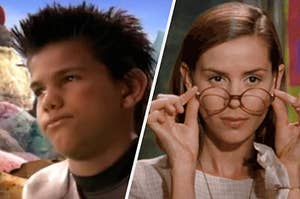 """On the left, Taylor Lautner as Sharkboy in """"The Adventures of Sharkboy and Lavagirl,"""" and on the right, Embeth Davidtz as Miss Honey in """"Matilda"""""""