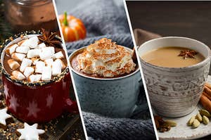 On the left, a mug of hot chocolate with marshmallows, in the middle, a pumpkin spice latte topped with whipped cream and cinnamon, and on the right, a chai latte