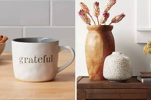 to the left: a mug that says grateful, to the right a white diffuser with copper accents