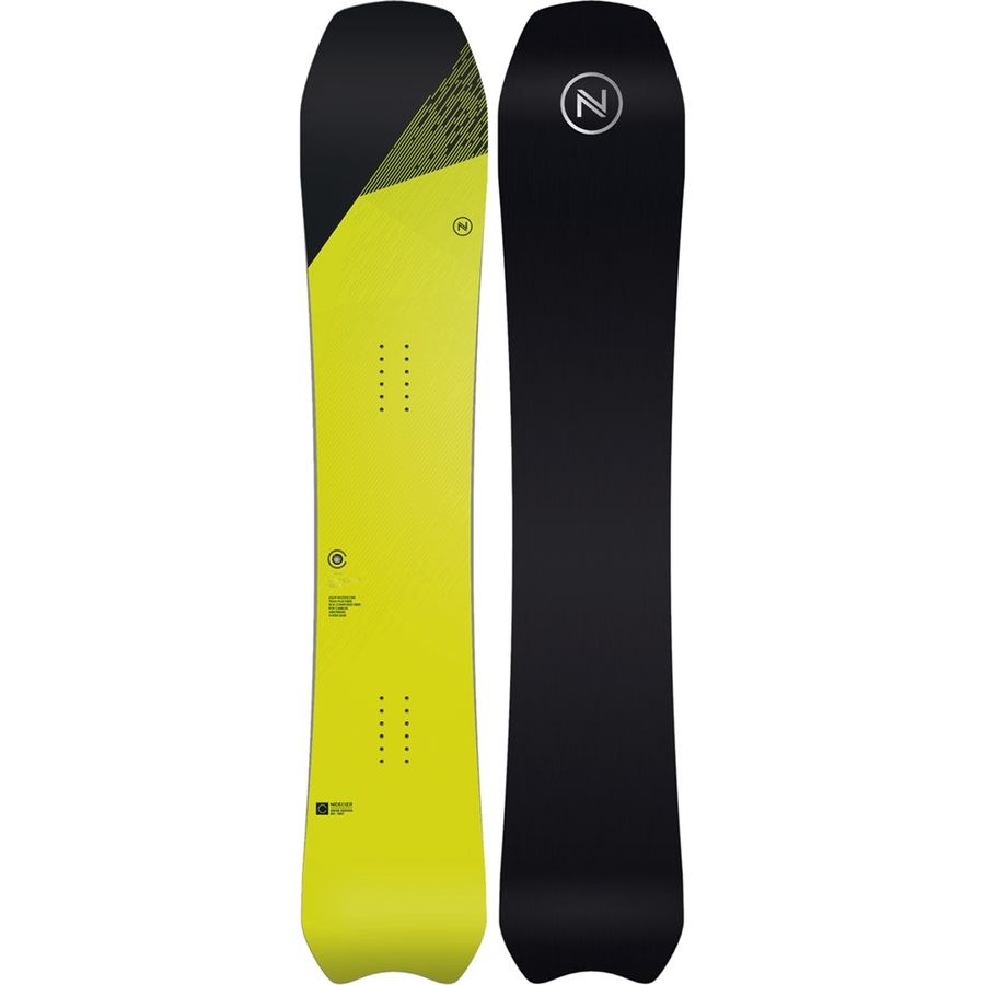 the front and back of the snowboard