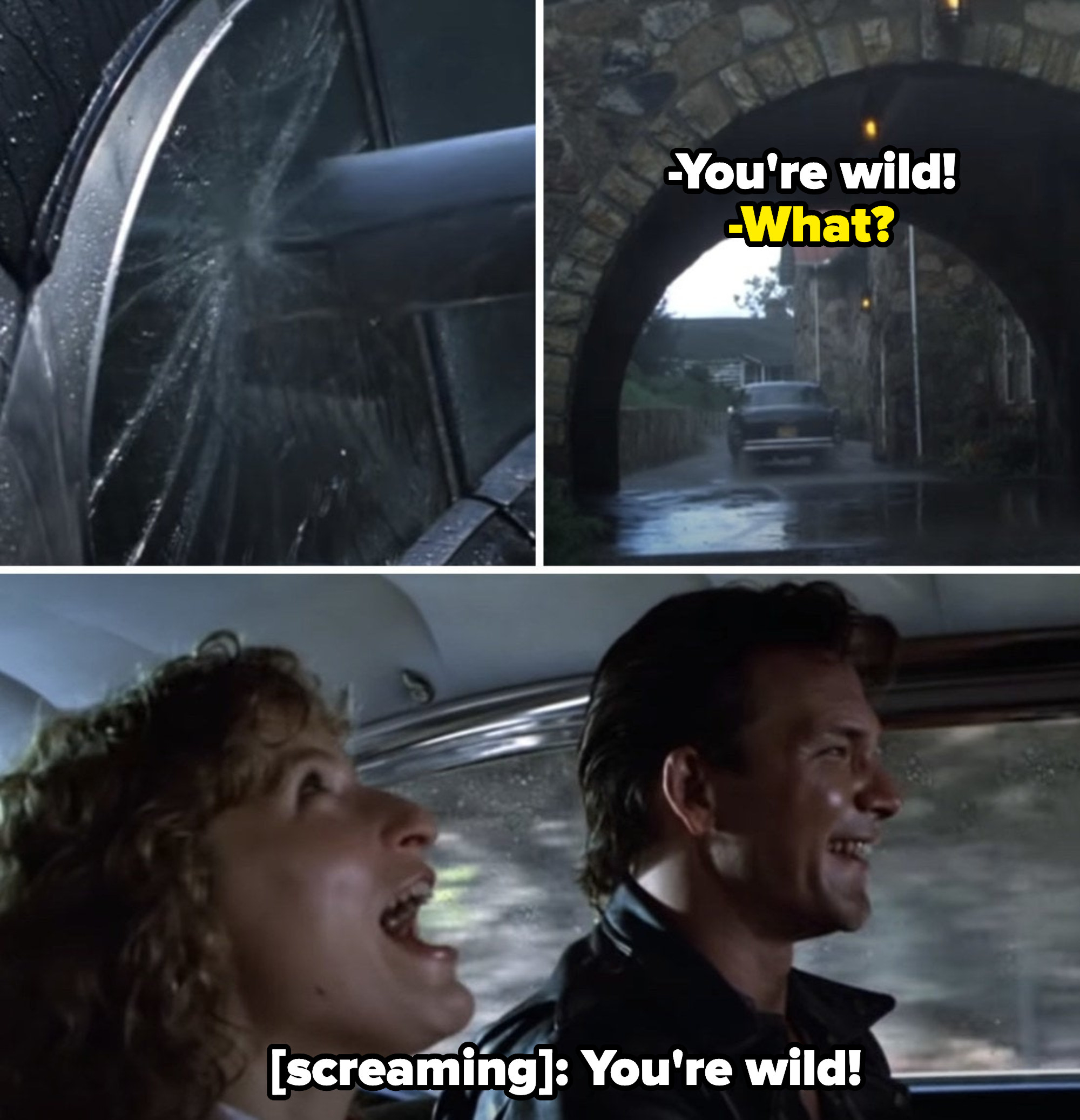 """Baby screaming """"You're wild!"""" in the broken car with Johnny"""