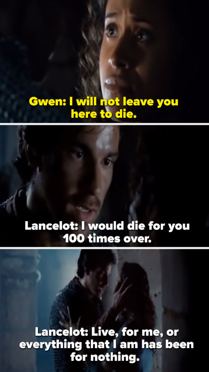Lancelot telling Gwen that he would die for her