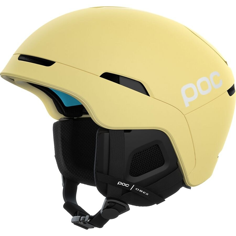 the POC helmet in yellow with a chin strap