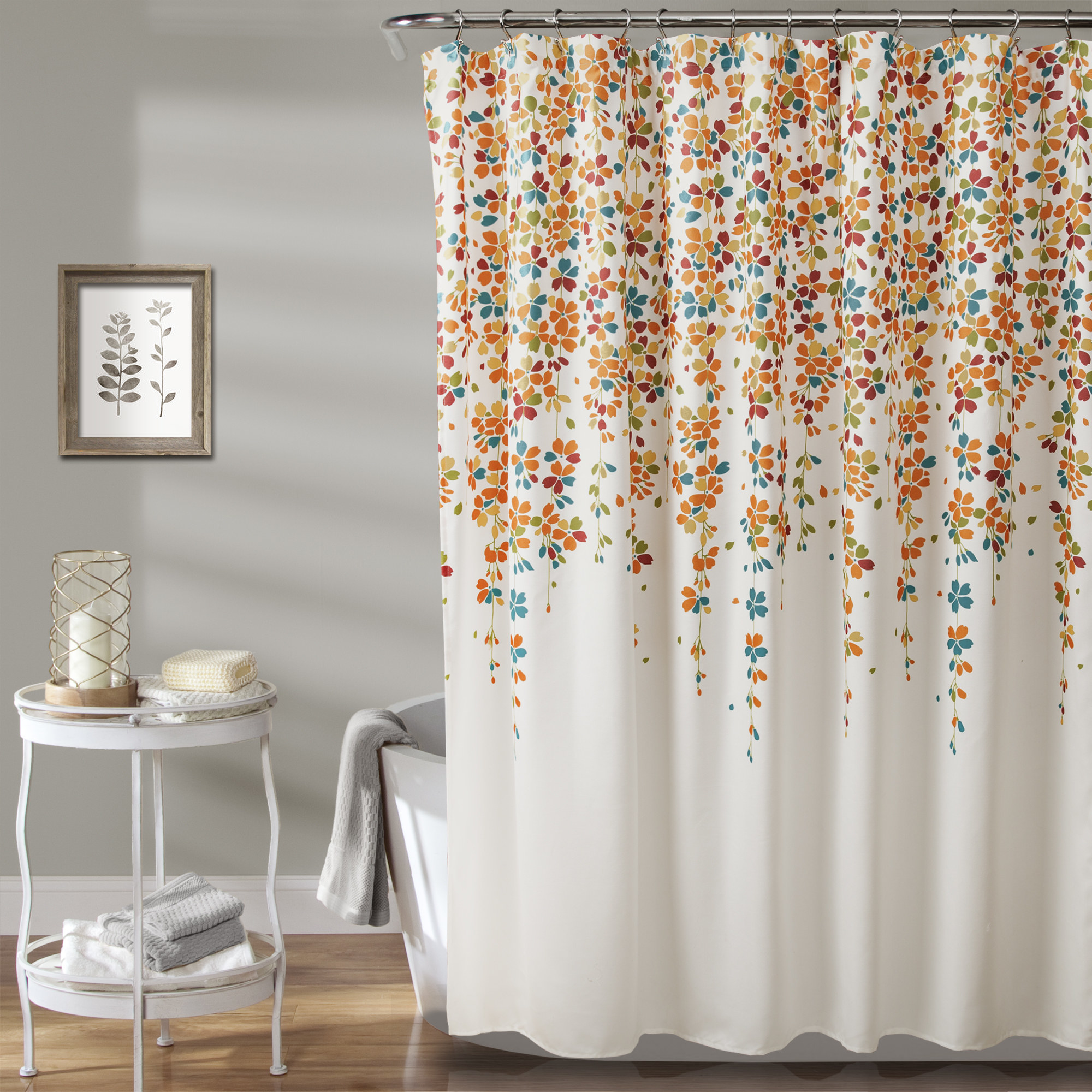 The shower curtain hung in a bathroom