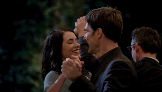 Hotch and Emily slow dancing and smily at each other