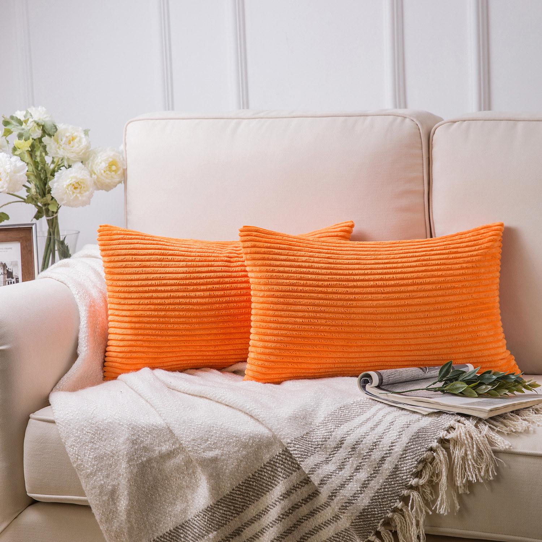 The lumbar throw pillows in orange