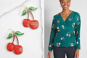 Cherry earrings and a wrap top