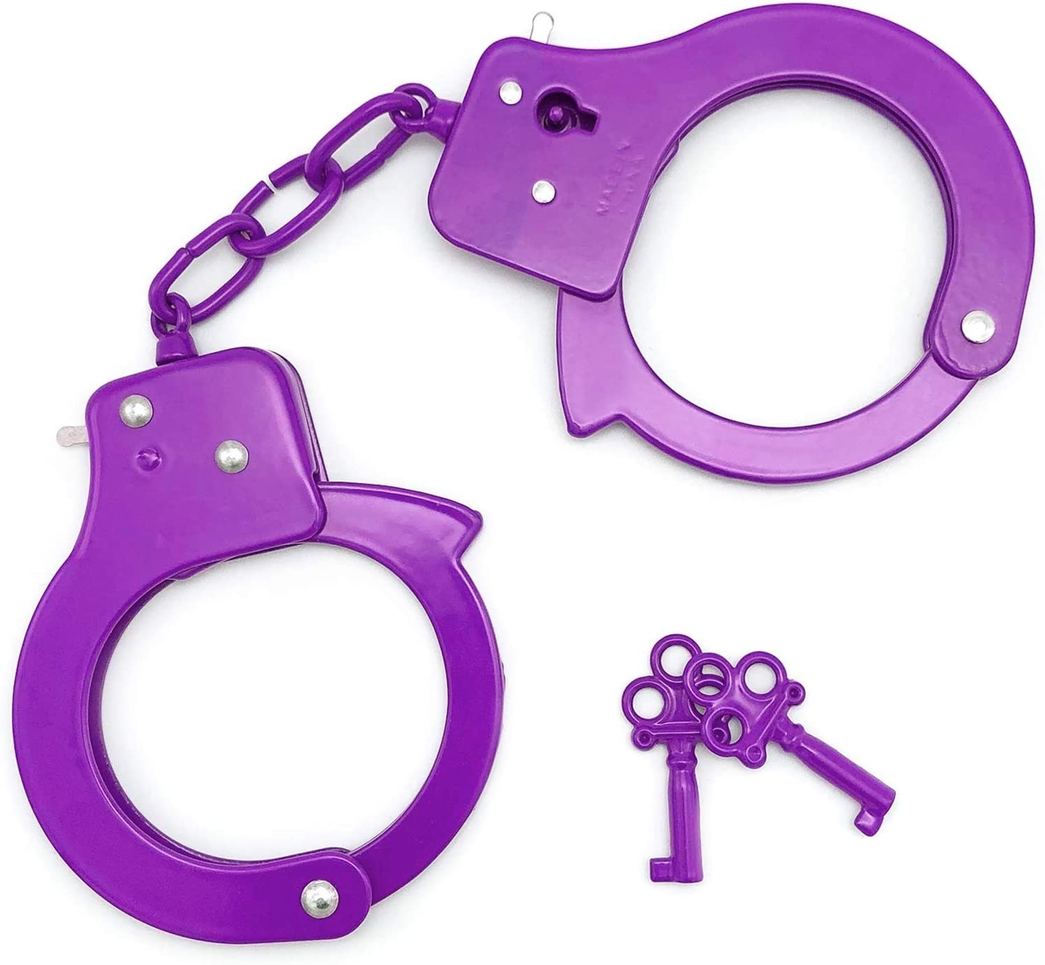 The purple SYOSIN Toy Metal Handcuffs and keys