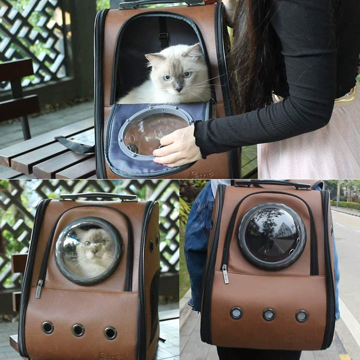 A person putting their cat into a large backpack that a small round window