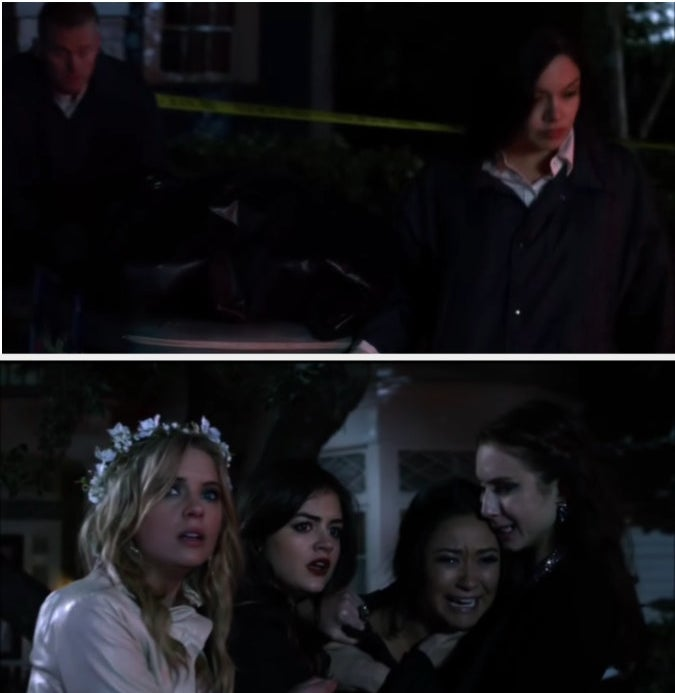 Emily, Spencer, Aria, and Hanna crying as the police bring out Maya's dead body.