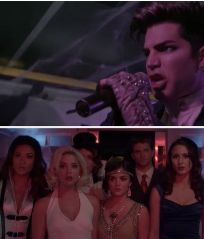 The liars watching Adam Lambert sing at the Halloween train party.