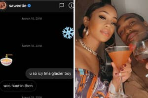 Quavo first DM to Saweetie vs. a picture of them now
