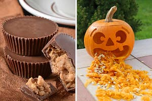 On the left, some Reese's Peanut Butter Cups, and on the right, a jack-o'-lantern that looks like it's puking out pumpkin guts