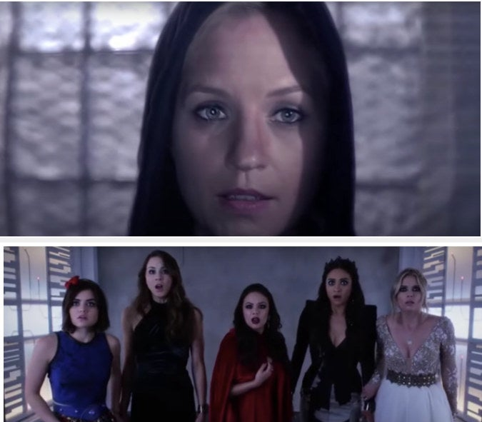 Aria, Spencer, Mona, Emily, and Hanna seeing Cece be revealed as A.