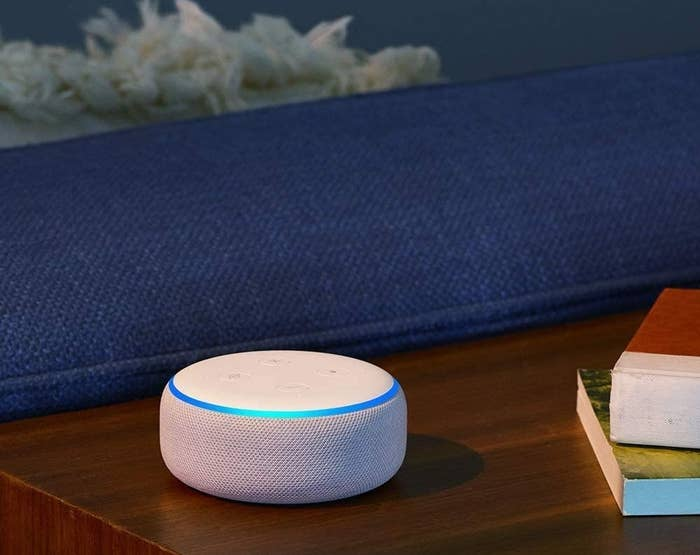 A smart speaker on a table