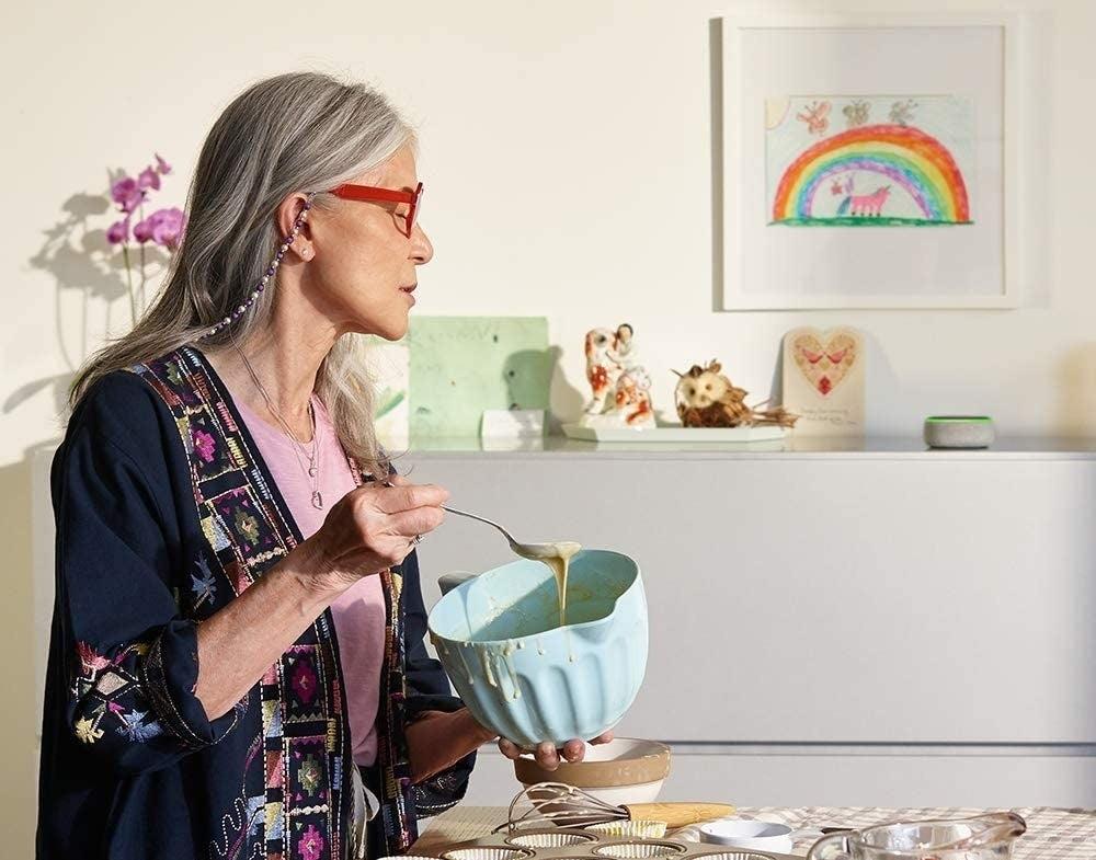 A smart speaker in a kitchen
