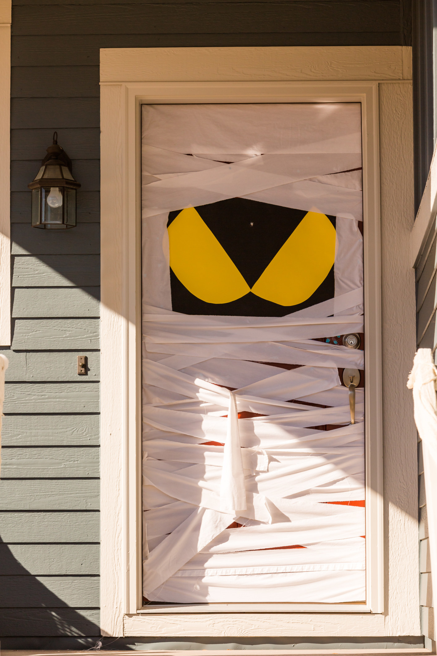 A door that's wrapped up like a mummy.