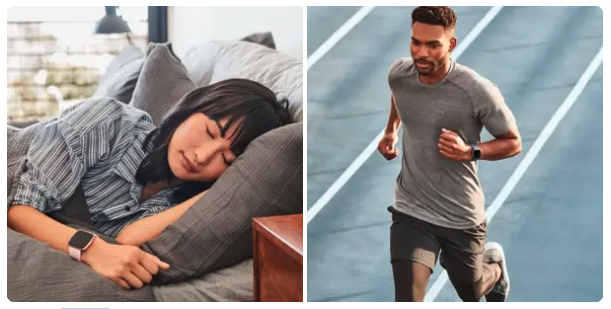 A woman sleeping with her fitbit on and a man going for a run with his Fitbit