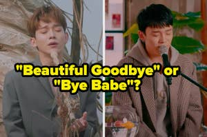 An image of Chen singing beautiful goodbye and bye babe