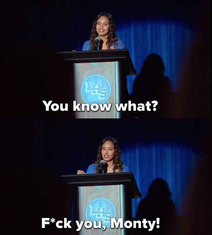 """Jessica tells Monty, """"F*ck you"""" during her campaign speech"""