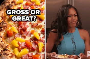 Pineapple pizza next to a woman with long curly hair whose face is scrunched up