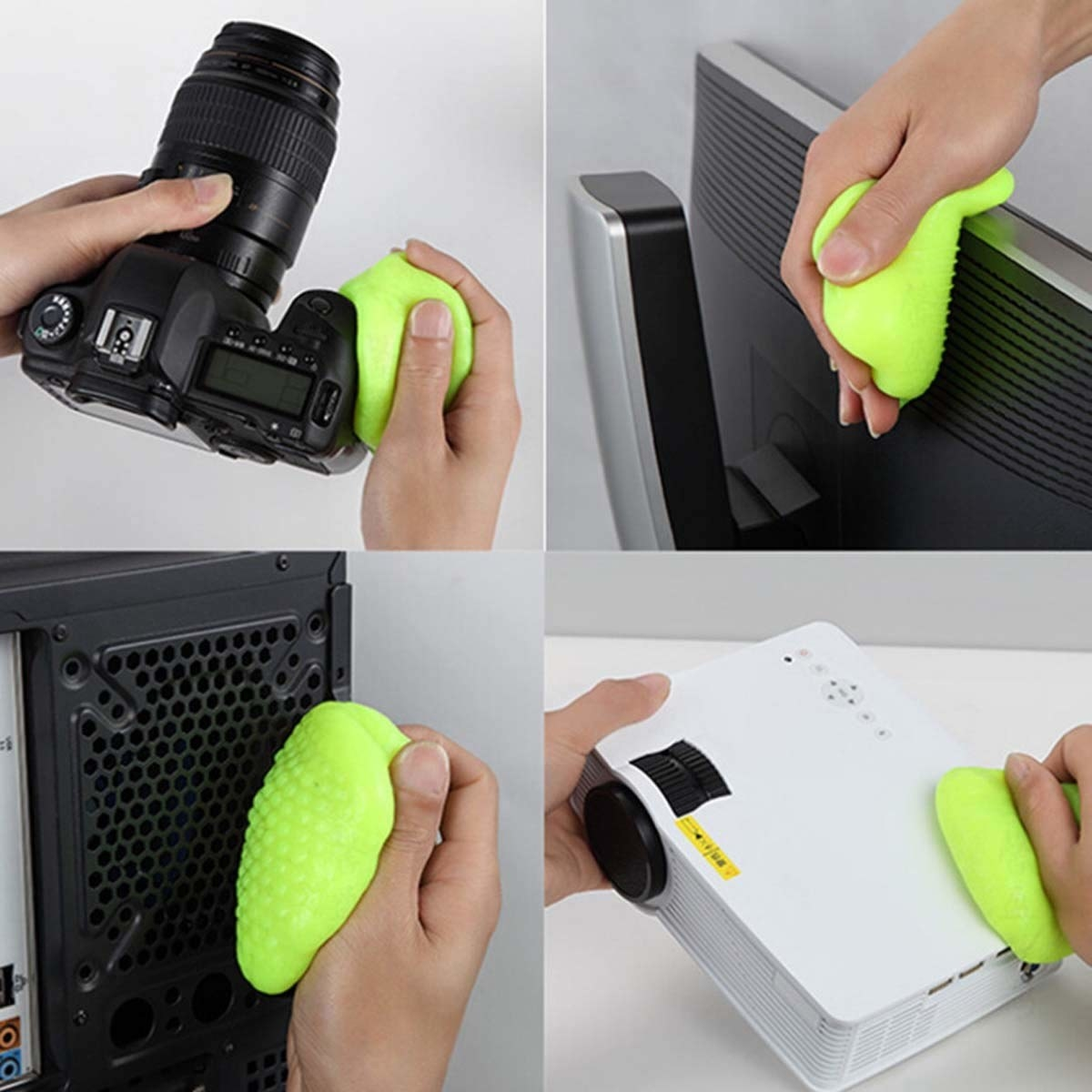 Cleaning gel used on gadgets like a camera, back of a monitor, projector, etc.