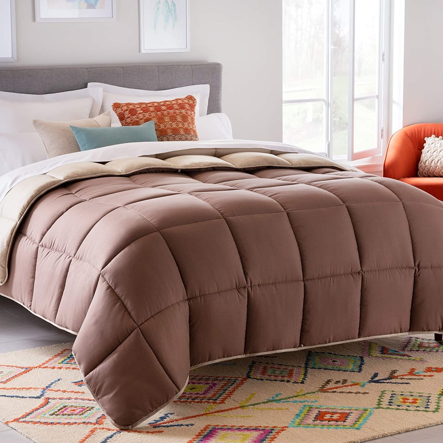 A bedspread on top of a bed
