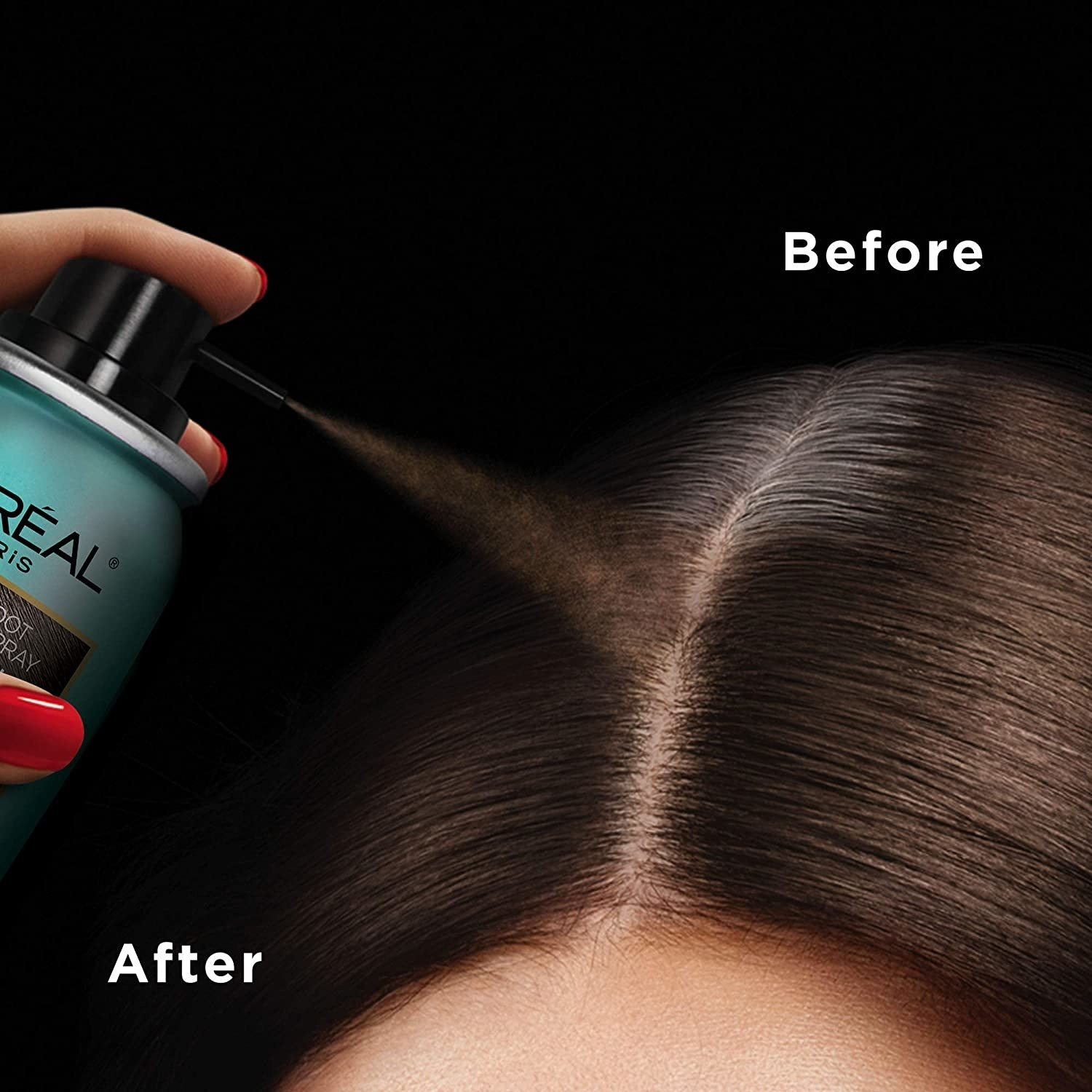 A before and after where the after shows the product covering grown-out hair roots