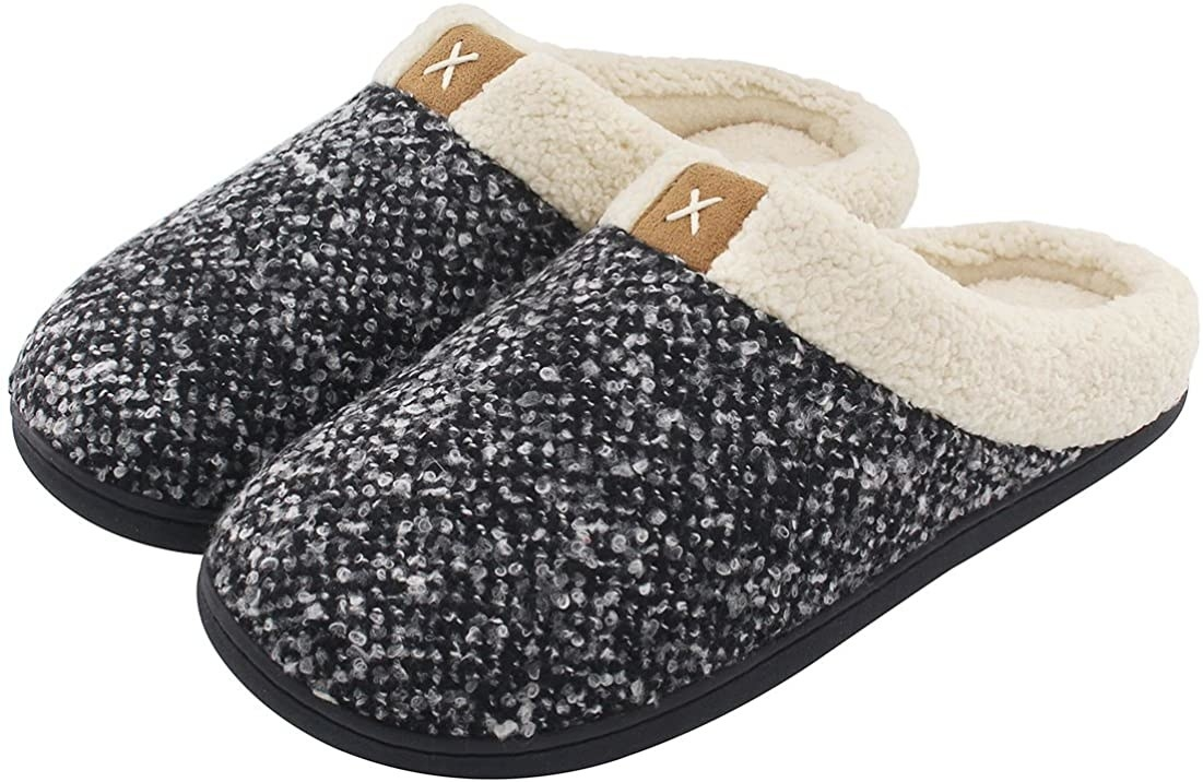 A pair of fleece lined slippers