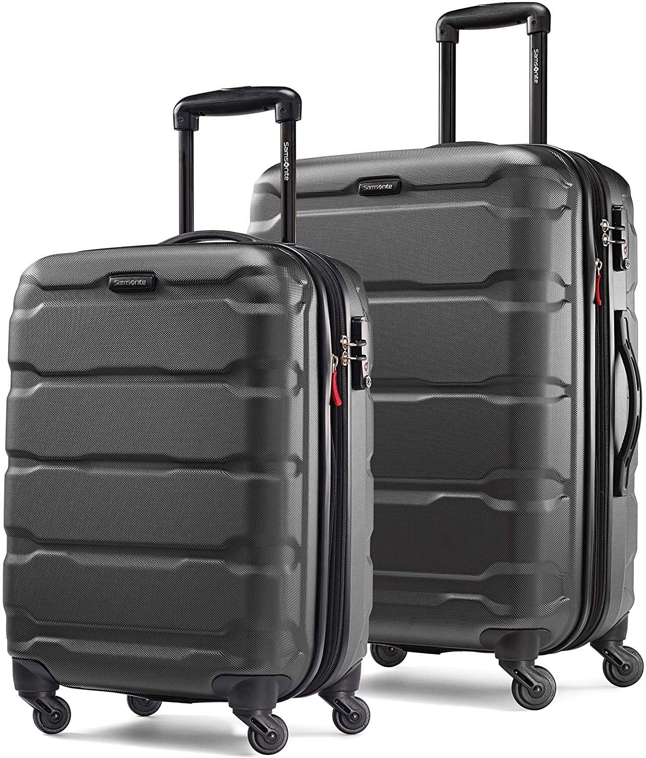 The two suitcases with spinner wheels, one carry-on size and one larger one