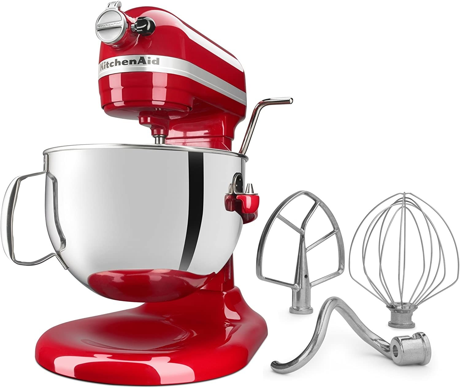 The stand mixer with its included attachments