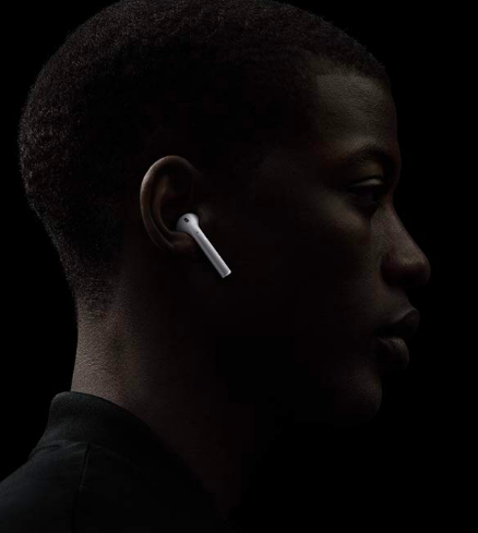 Person with AirPods in ears