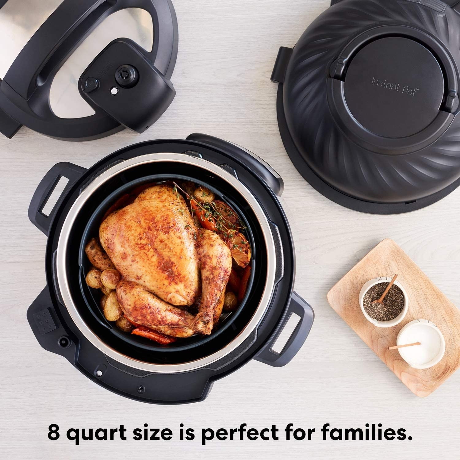 Instant Pot with a chicken in it