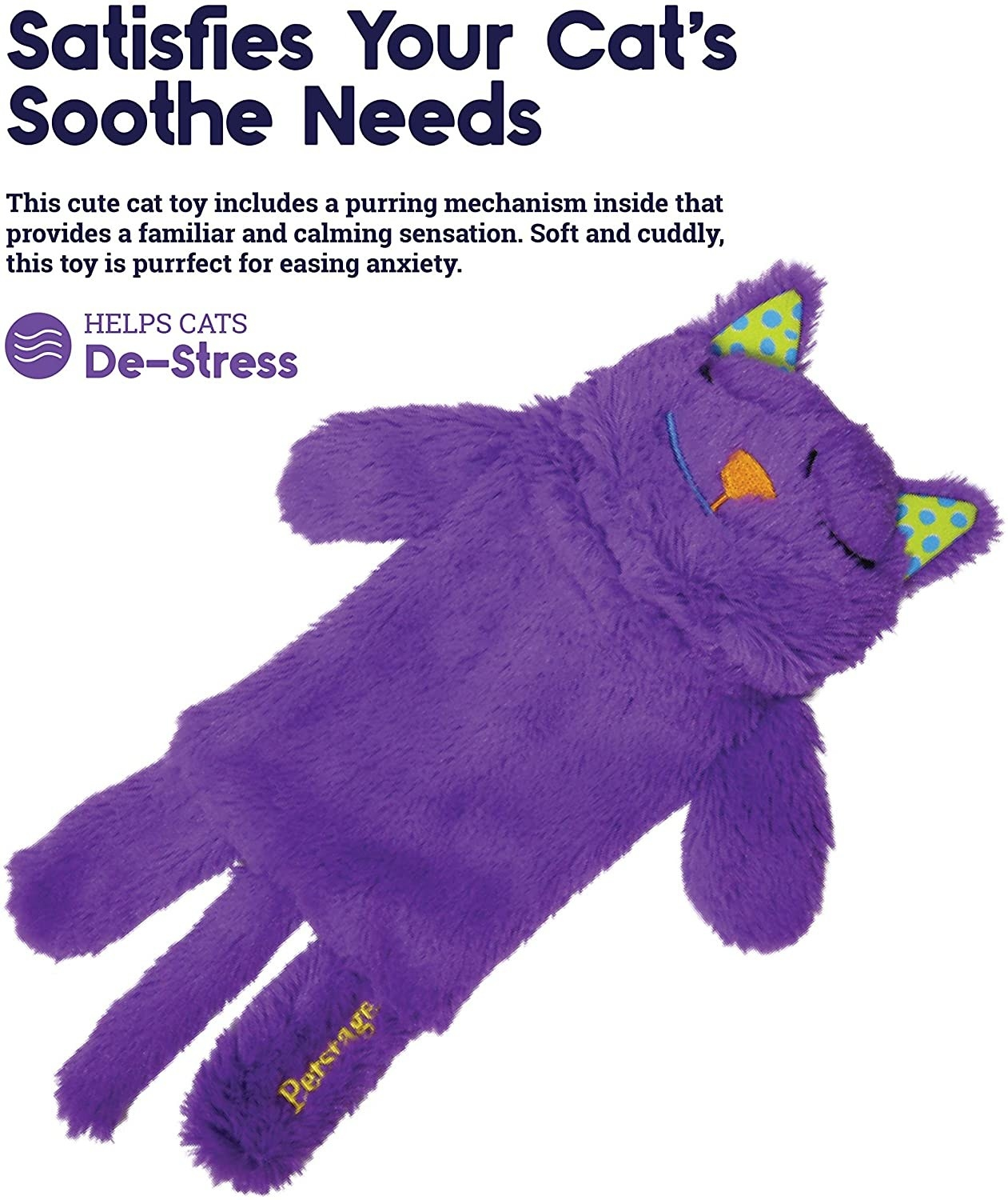 The purple furry cat-shaped toy