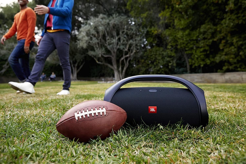 The speaker on a football field