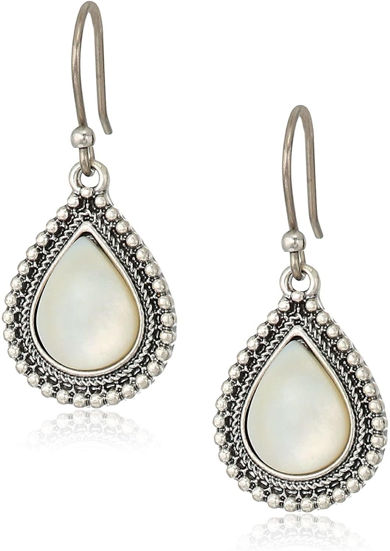 The drop earrings in a teardrop shape