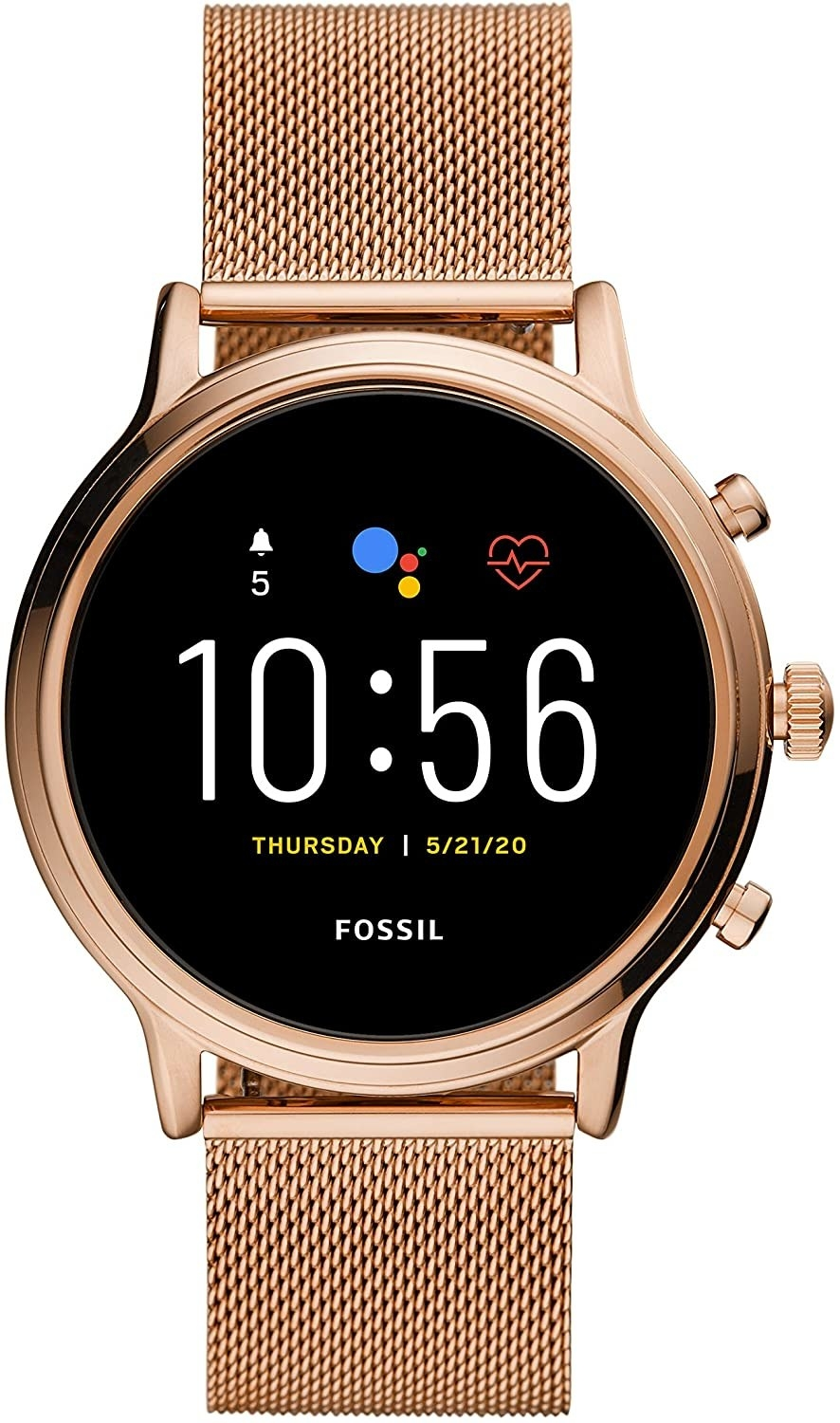 The round smartwatch in gold tone with a mesh link band