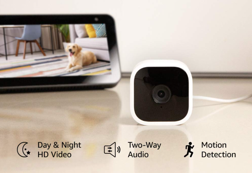 A Blink Mini indoor camera and a tablet showing a dog behind it