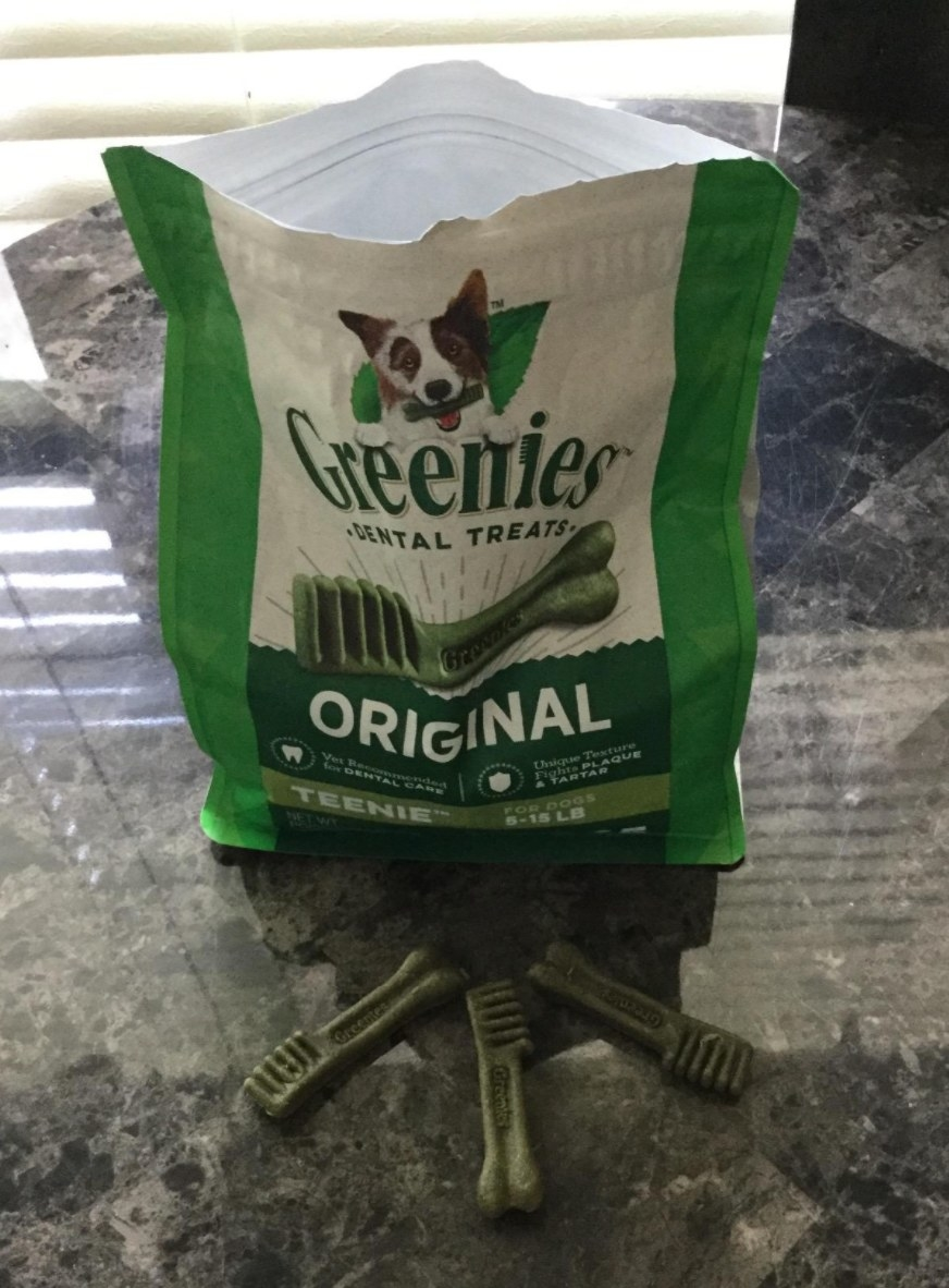 A reviewers photo of the bag of Greenies treats