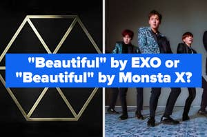 Exo's album cover for Exodus next to an image of monsta x performing their song beautiful