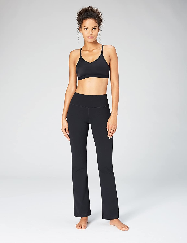 Model in the bootcut leggings