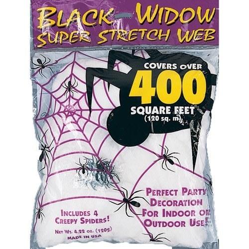 Faux white spider web decoration