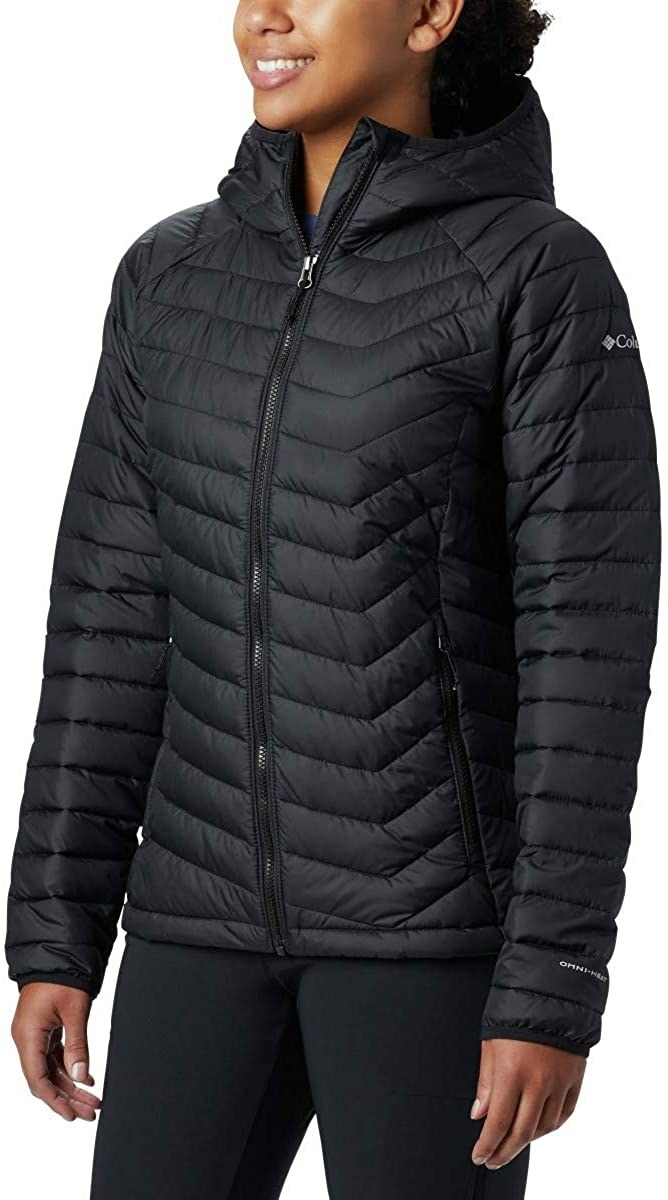 Model in the black chevron-quilted jacket
