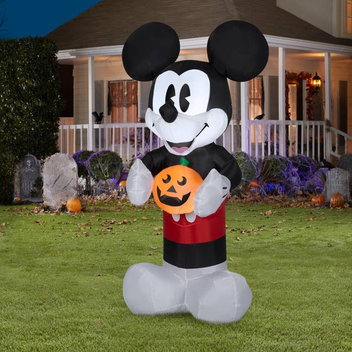 Inflatable Mickey Mouse in front yard