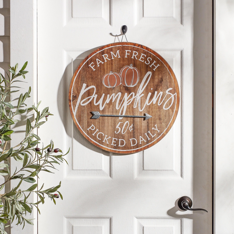 Rustic farm fresh pumpkins wooden sign