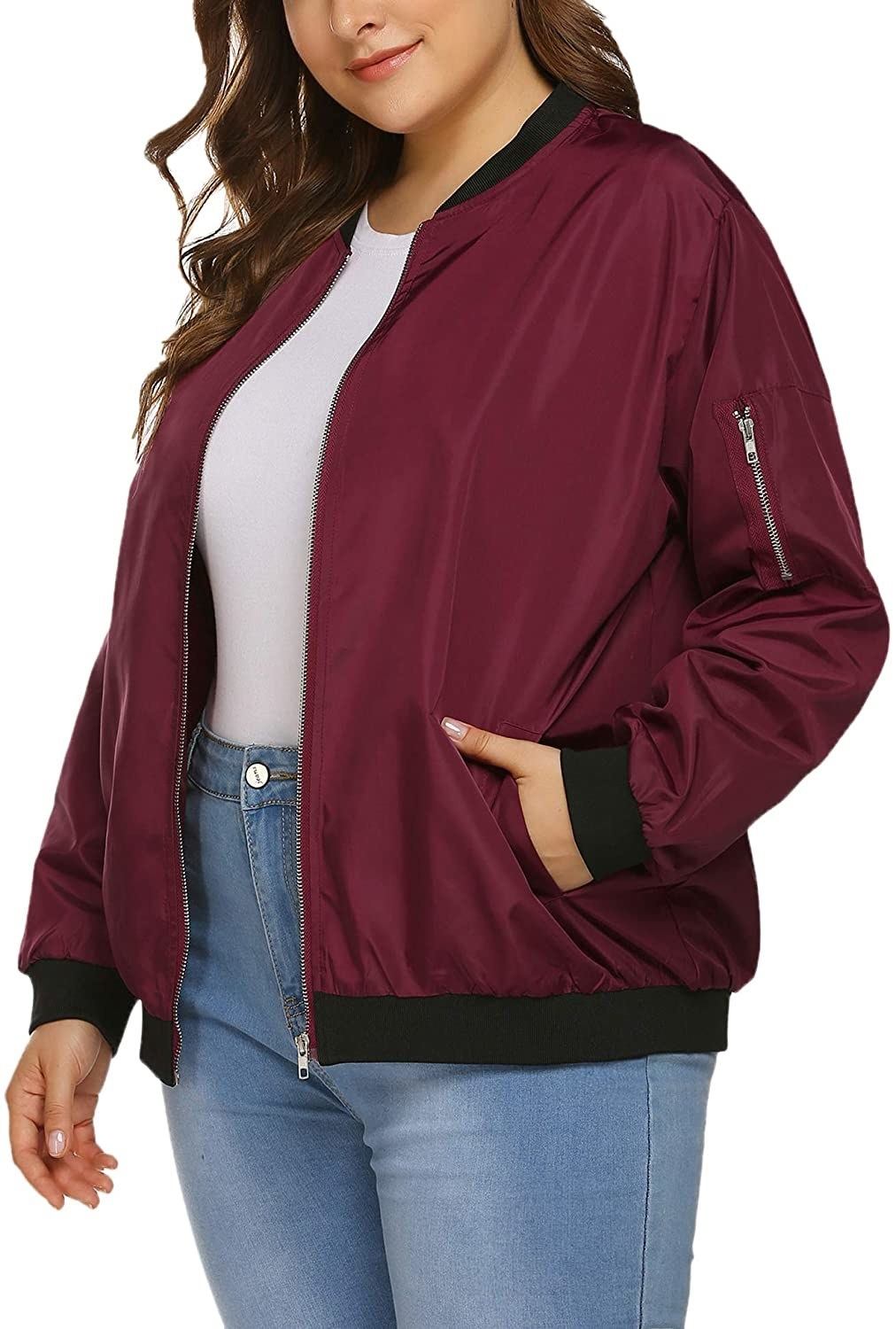 Model in the burgundy jacket with black trim