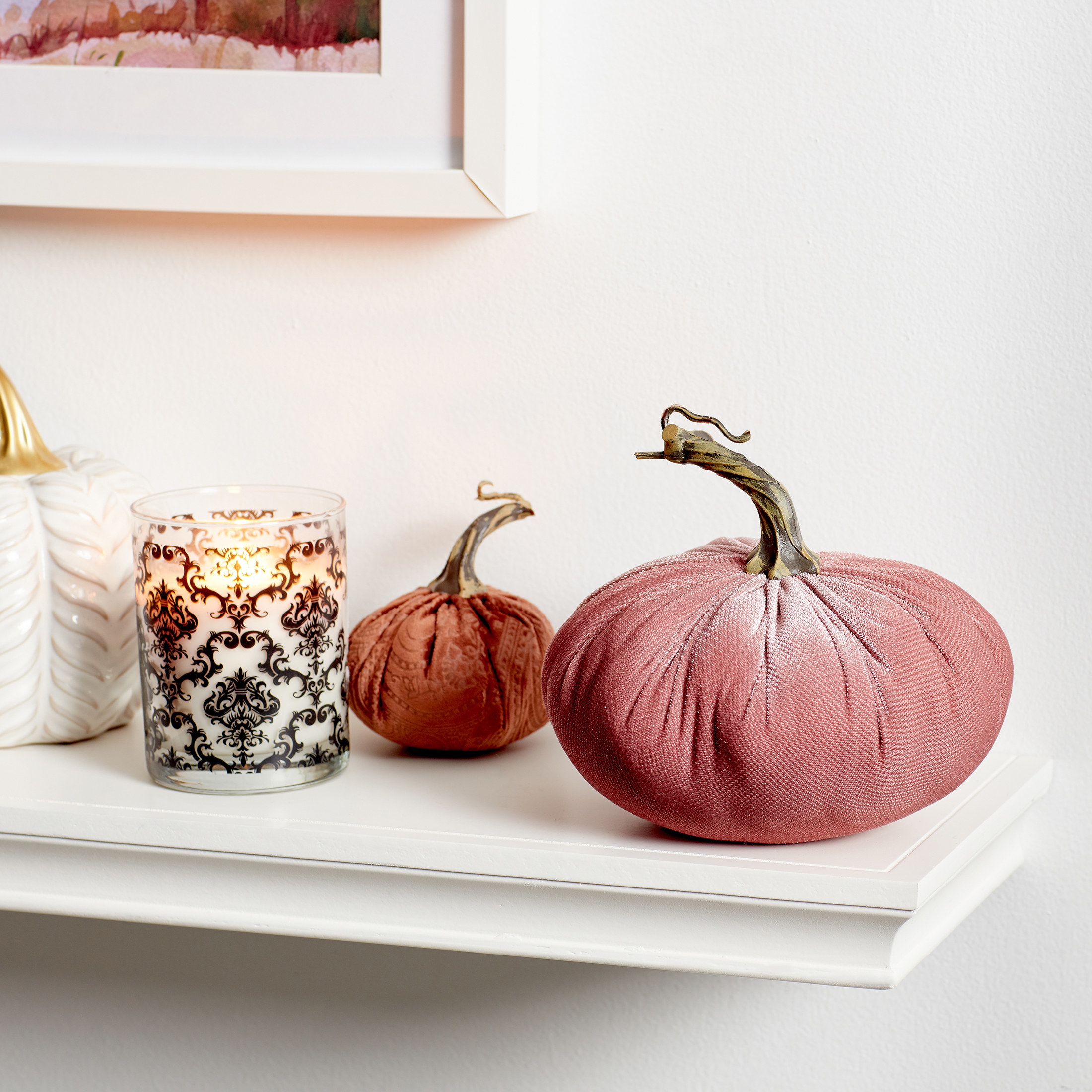 Velvet tabletop pumpkin