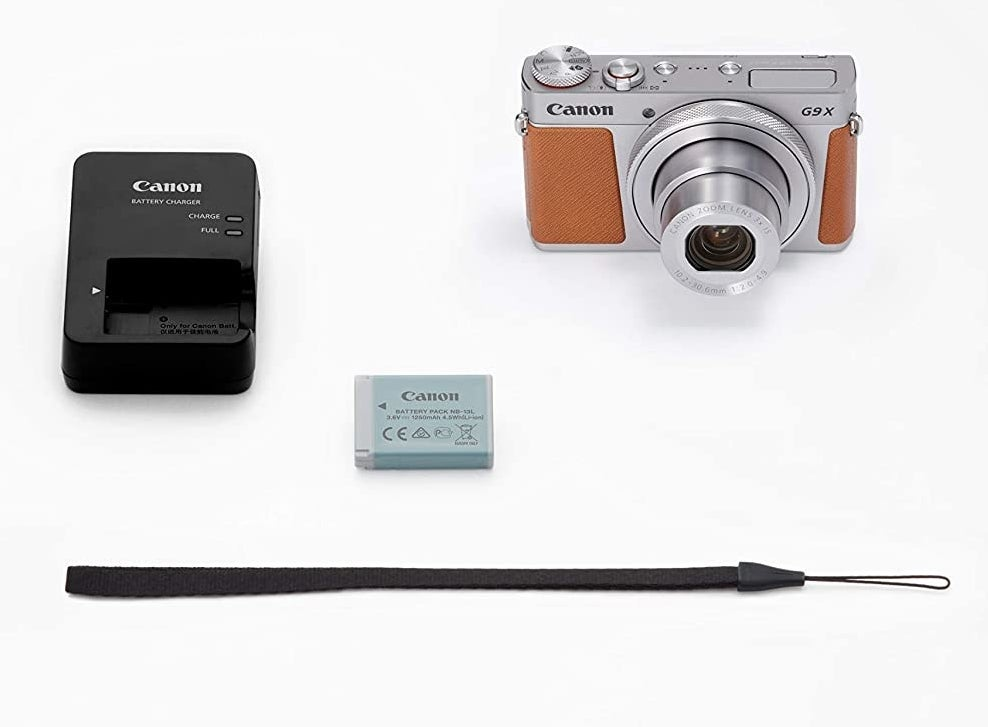 The camera and its accessories laid out on a table
