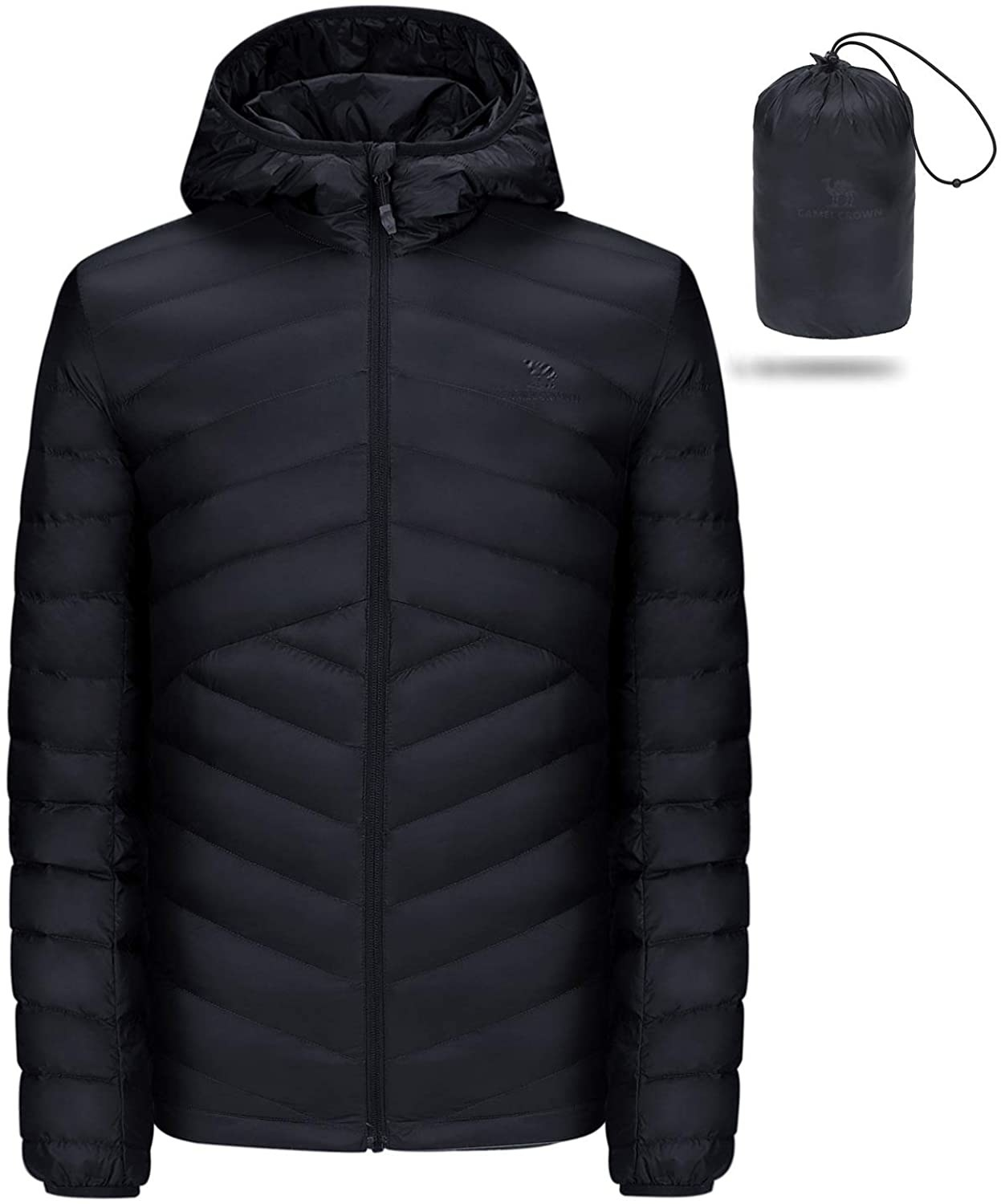 The black quilted jacket and the bag it packs down to